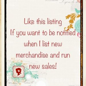 "Just ""like"" this listing & I'll share new Sales"
